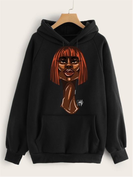 Front of black hoodie featuring 2D version of Zuri bob artwork by Taylor Ramsie