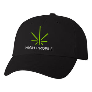 High Profile Curved Brim Hat – Black
