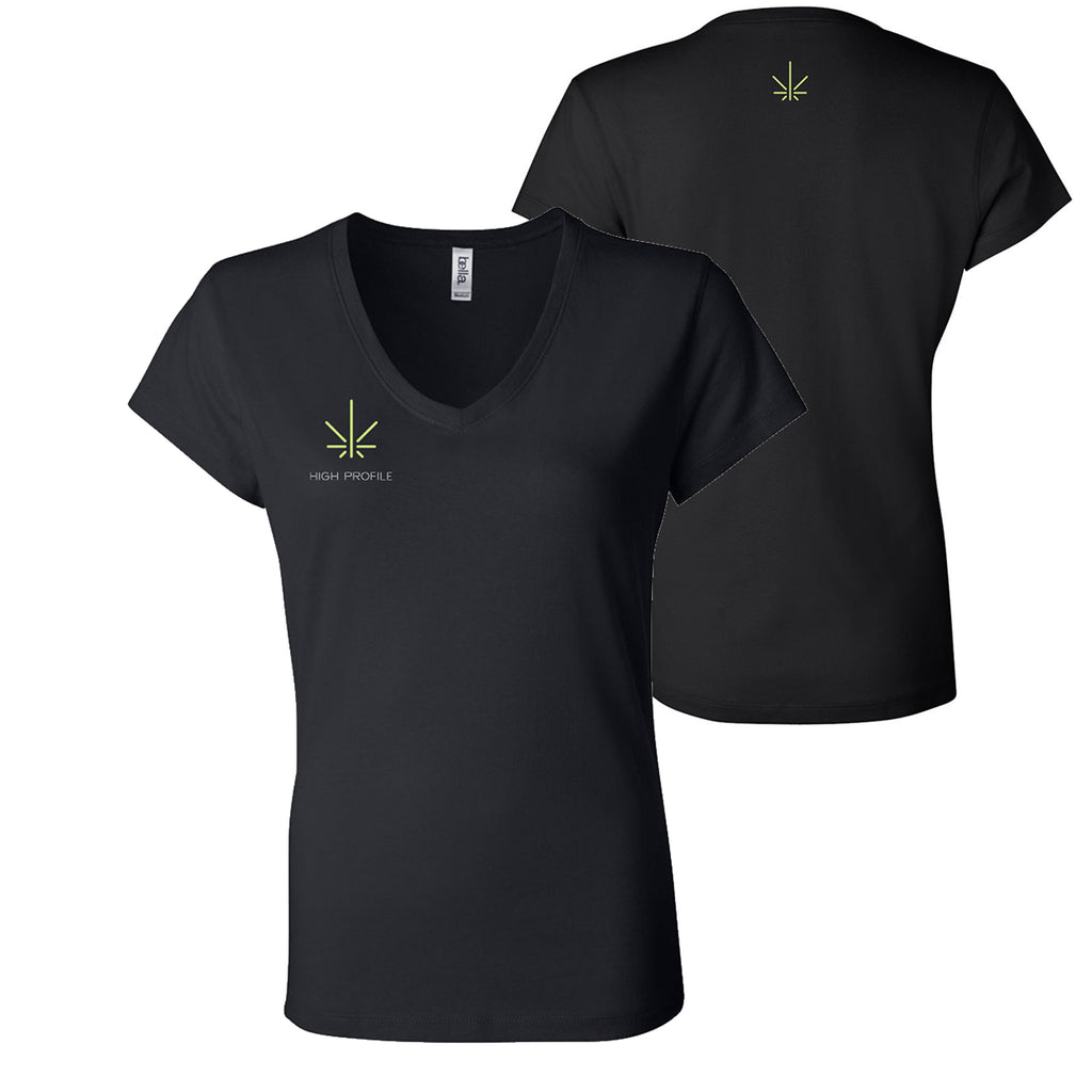 LADIES V-NECK TEE - BLACK