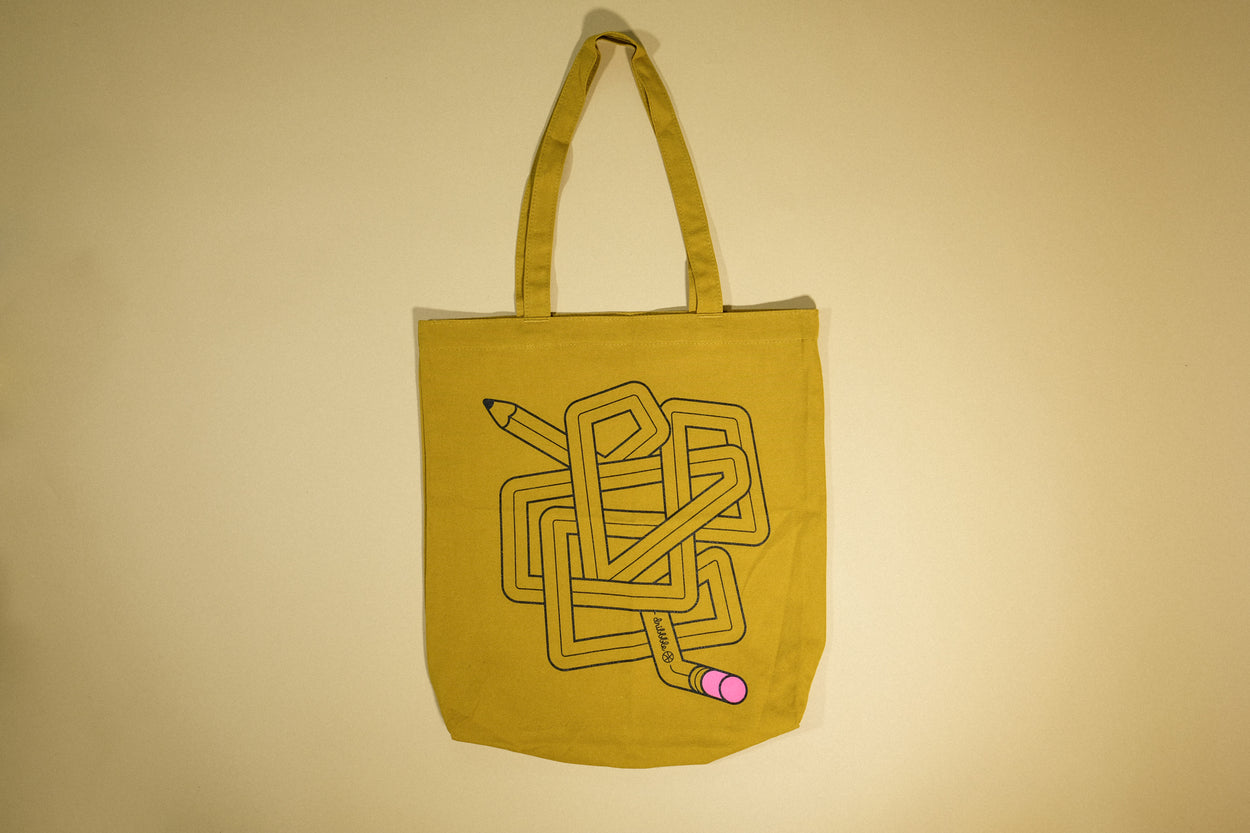 Tangled Pencil canvas tote bag