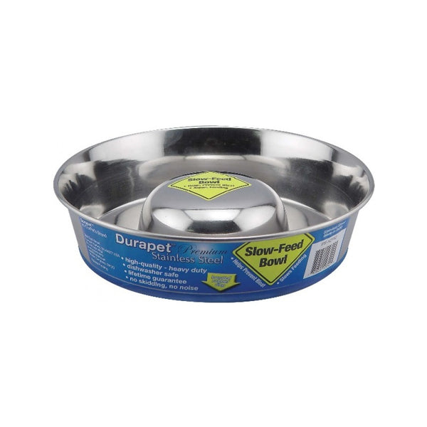 Slow Feeder Stainless Steel Bowl, Large