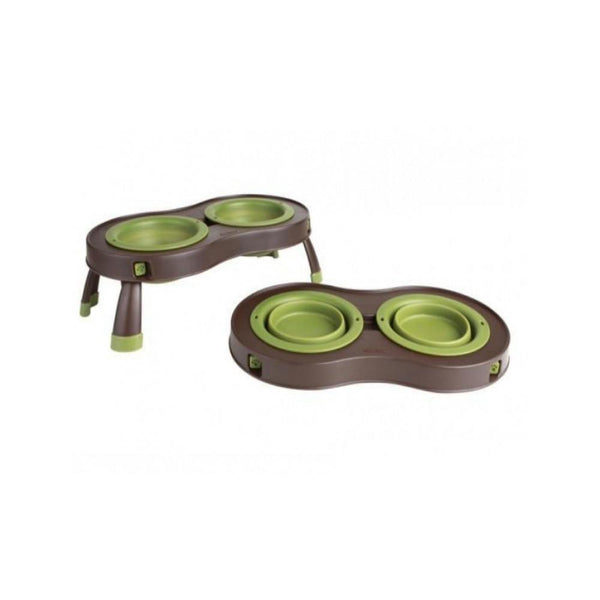 Double Elevated Feeder, Color Green, Small
