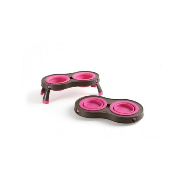 Double Elevated Feeder, Color Pink, Small