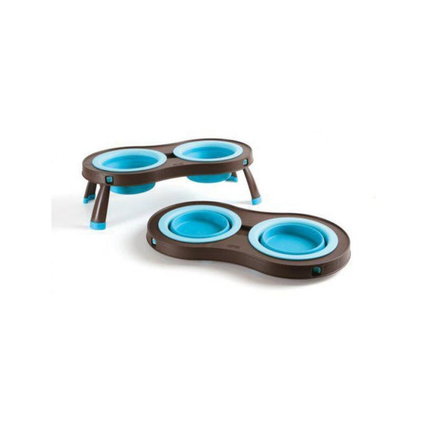 Double Elevated Feeder, Color Turquoise, Small