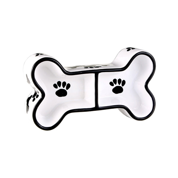 Black & White Collection Dog Bone Double Bowl