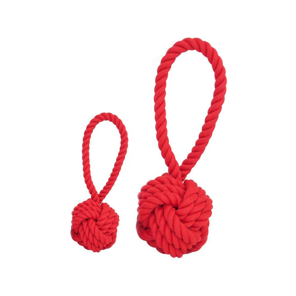 COTTON ROPE BALL TOY SIZE : MEDIUM COLOR : RED