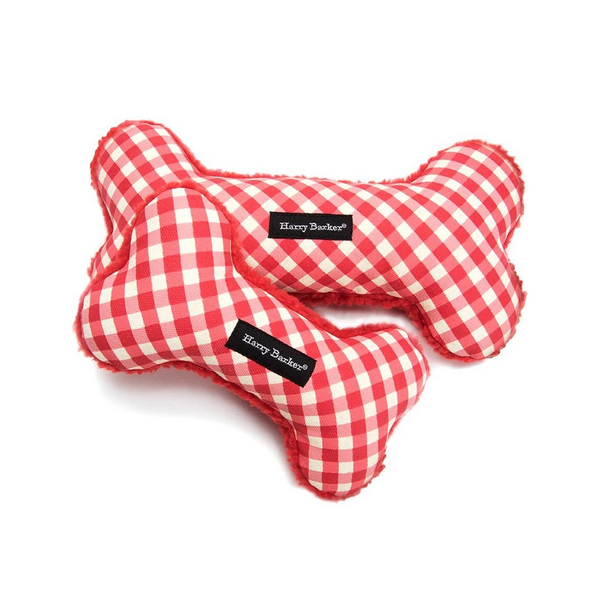 Gingham Bone Canvas Dog Toy, Color Red, Large