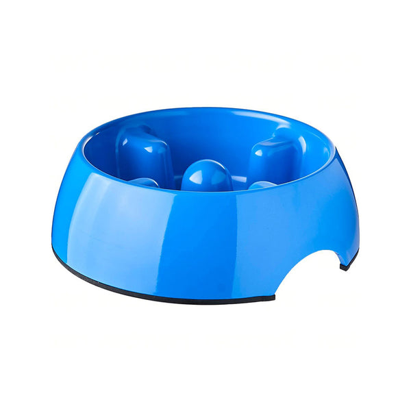 Go Slow Anti-Gulping Dog Bowl, Blue, Large