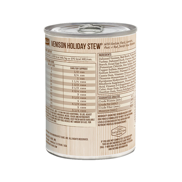 Grain Free Venison Holiday Stew Wet Dog Food, 13.2oz