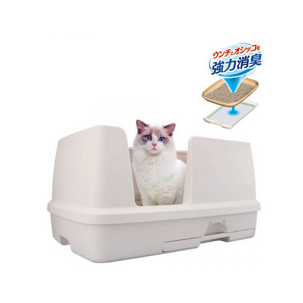 DeoToilet High Wall Cat Litter Bin w/ Starter Kit, Color: Ivory