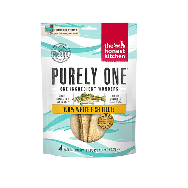 Purely One, Single Ingredient White Fish Filets Treats, 3oz