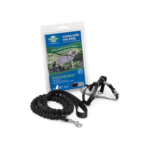 Kitty Harness & Bungee Leash Color : Black/Silver Size : Medium