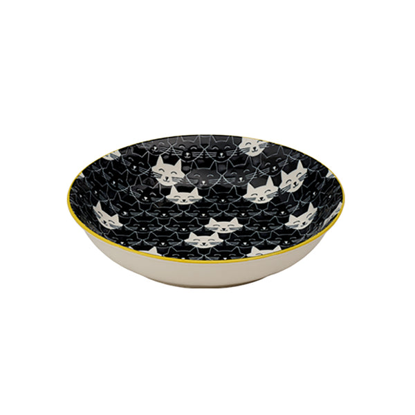 Whisker Cat Shallow Bowl, Black