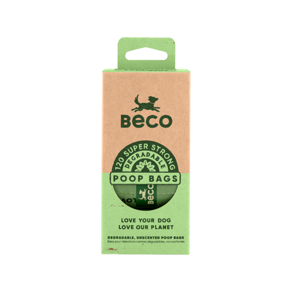 BecoPets Degradable Poop Bags - Unscented (15x8Rolls)