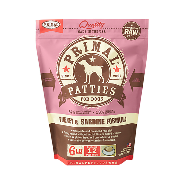 Canine Turkey & Sardine Formula Patties, 6lb (Frozen)