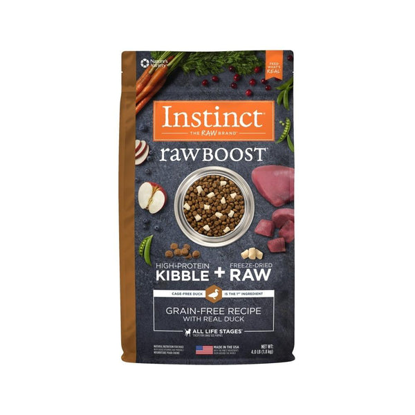 Raw Boost Grain Free Dog Kibble - Duck, 4lb