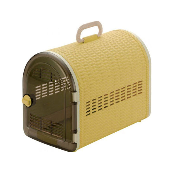 Single Door Wicker Carrier, Color: Yellow