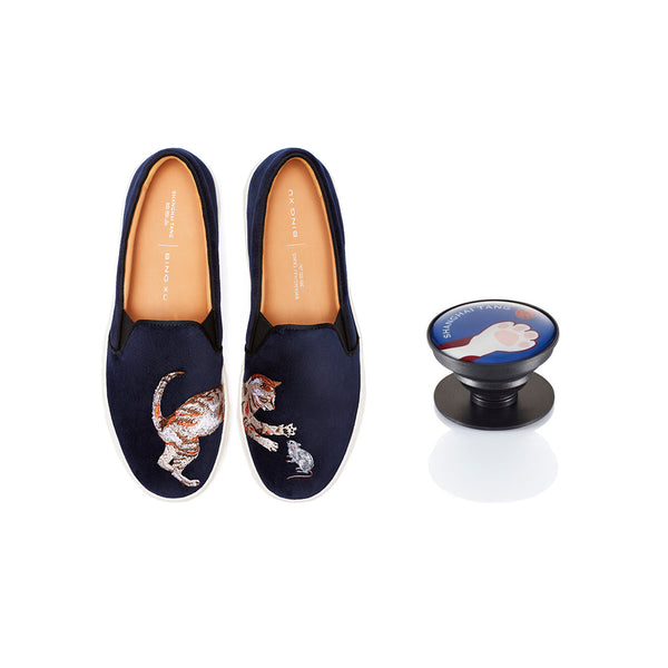 Blue Velvet Platform Slip-ons with Navy Cat Paw Phone Grip