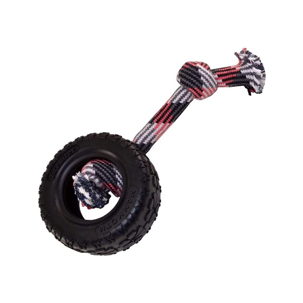 TireBiter II Rubber Tire Dog Toy with Rope, Medium 5""