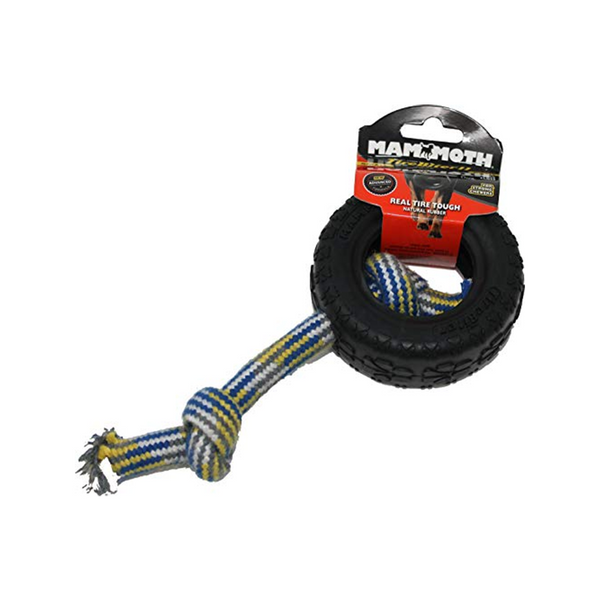 TireBiter II Rubber Tire Dog Toy with Rope, Small 3.75""