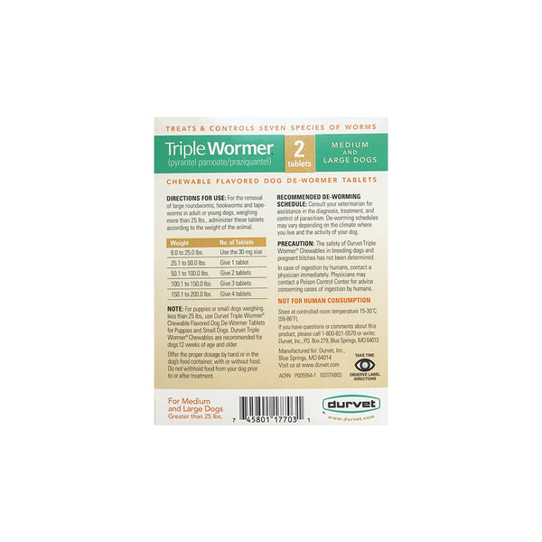 Triple Wormer Pyrantel Pamoate / Praziquantel, Medium/Large