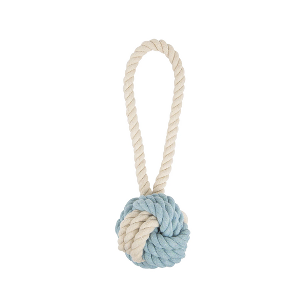 Cotton Rope Ball Toy, Color Blue/Natural, Medium 3.5""