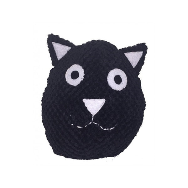 Black Cat Plush Ball Squeak Toy Size : 6""