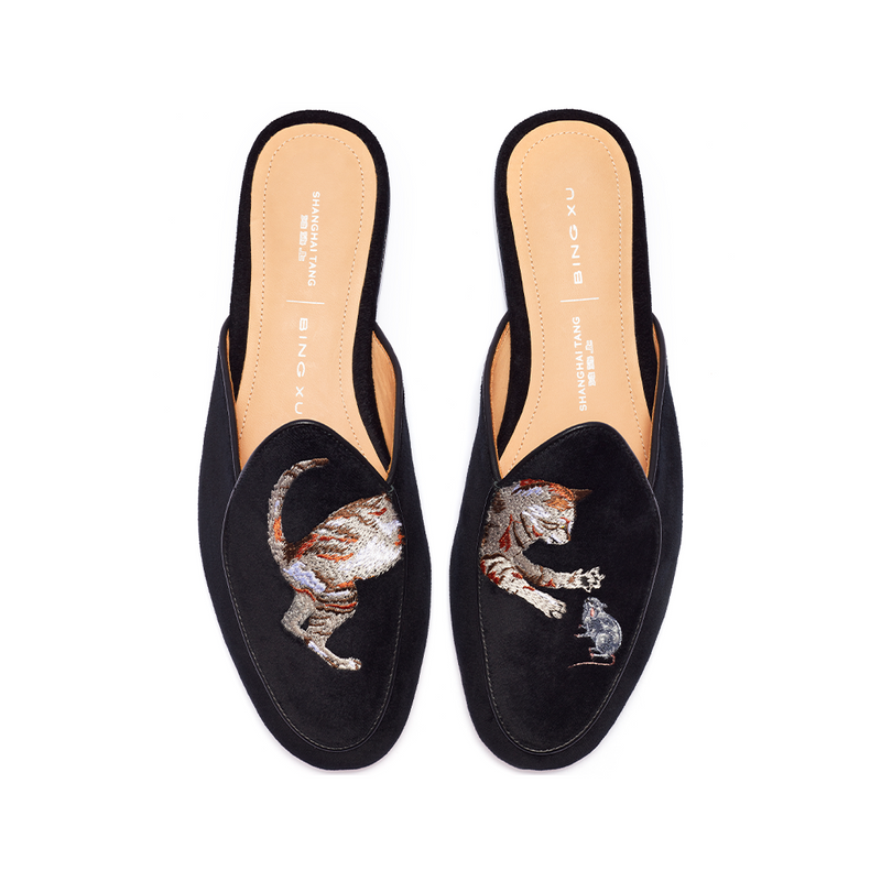 Black Velvet Loafer Mules with Yellow Cat Paw Phone Grip