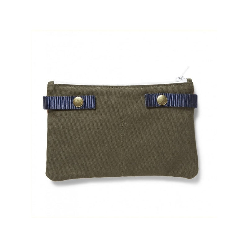Canvas Pouch, Color: Olive/Orange