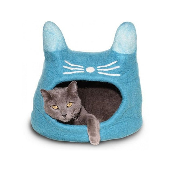 Natural Felted Cat Face Cave, Color: Turquoise