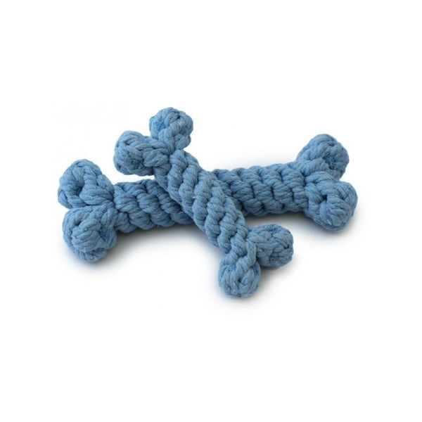 Cotton Rope Bone Toy, Color Blue, Small