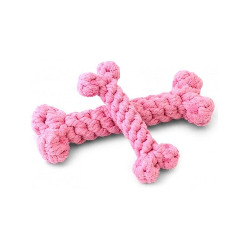 Cotton Rope Bone Toy, Color Pink, Small