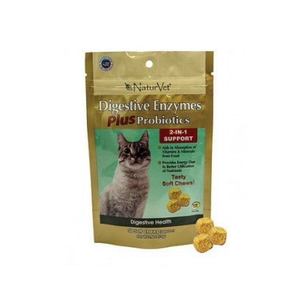 Feline Digestive Enzymes+ Probiotics for Cats Counts, 50 Soft Chews