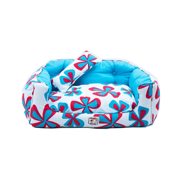 Kingston Sofa, Aqua & Red Floral Pint/Large
