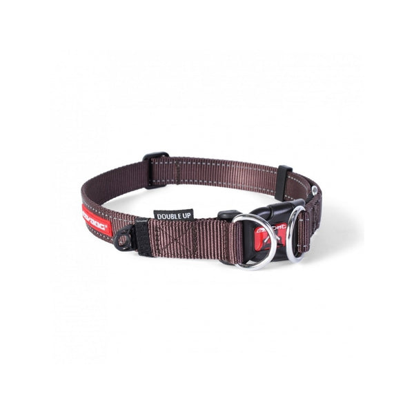 Double Up Dog Collar, Color Chocolate, Large