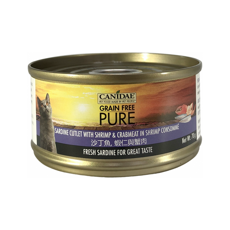 Feline PURE Sardine Cutlet w/ Shrimp & Crabmeat in Shrimp Consomme, 70g