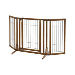 Free Standing Pet Gate w/ Door 105-145cm Width, 2ft Height