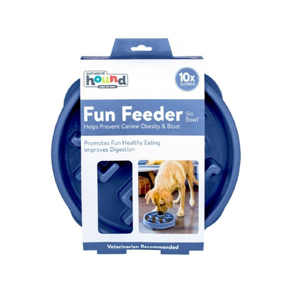 Fun Feeder Slow Bowl Blue Size : Small