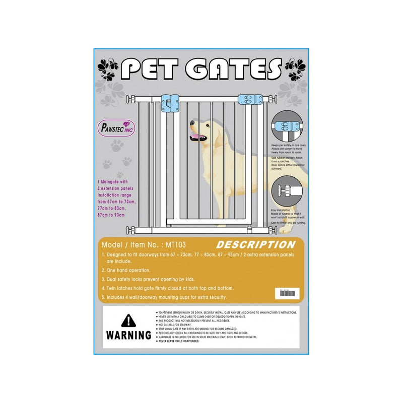 Pet Gate with Extra Extensions, 67-73/77-83/87-93cm