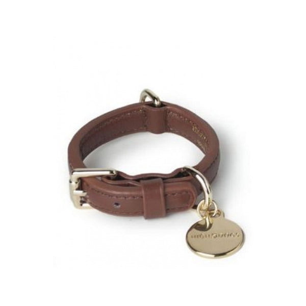 Leather Collar Metropolitan Collection, Color Brown, XSmall