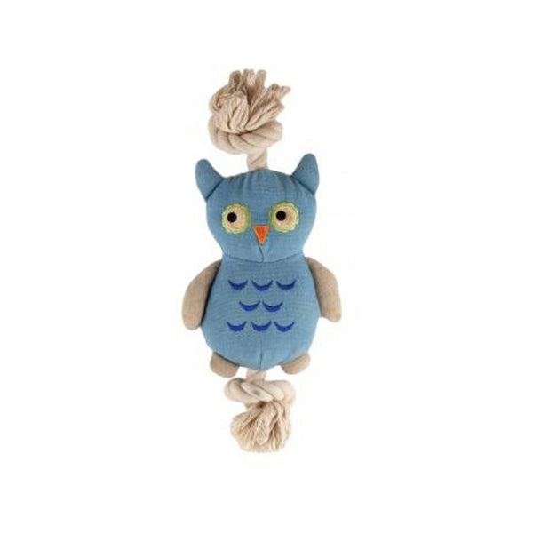 Little Joe Owl Blue with Rope, 9""