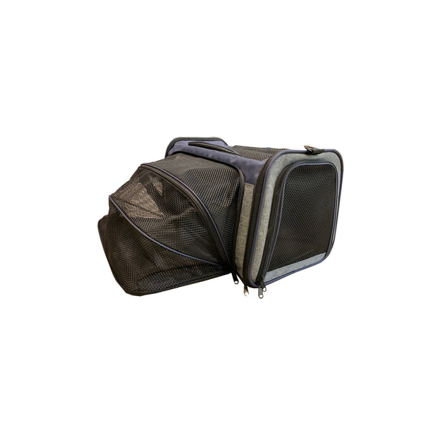 Side Expendable Pet Carrier Color : Blue/Grey, Large