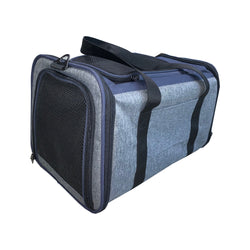 Side Expendable Pet Carrier Color : Blue/Grey, Small