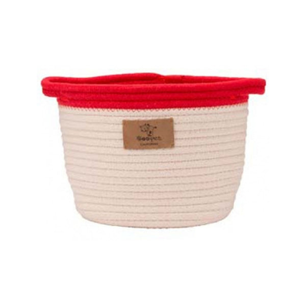 Rope Toy Bucket with Red Trim