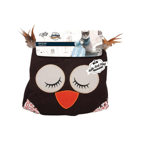 Owl Cat Sack Hide & Play, Color: Brown