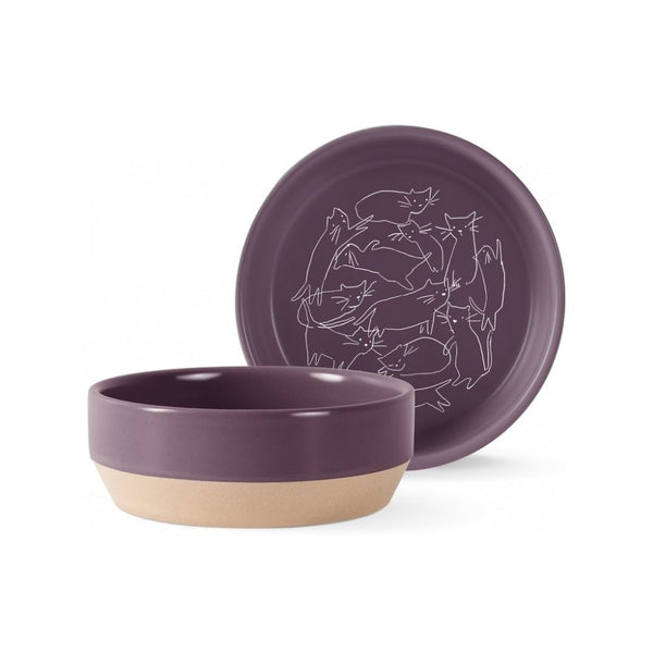 Whisker Cat Line Pet Stoneware Bowl