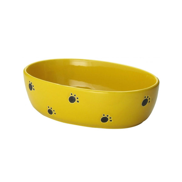 "Silly Kitty Yellow Oval Cat Dish, 6.5"" / 2cups"