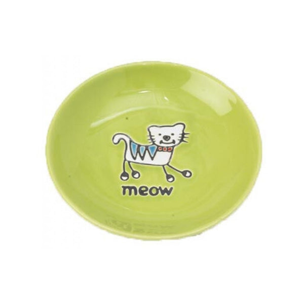 Silly Kitty Saucer Cat Bowl, Color: Green 5""