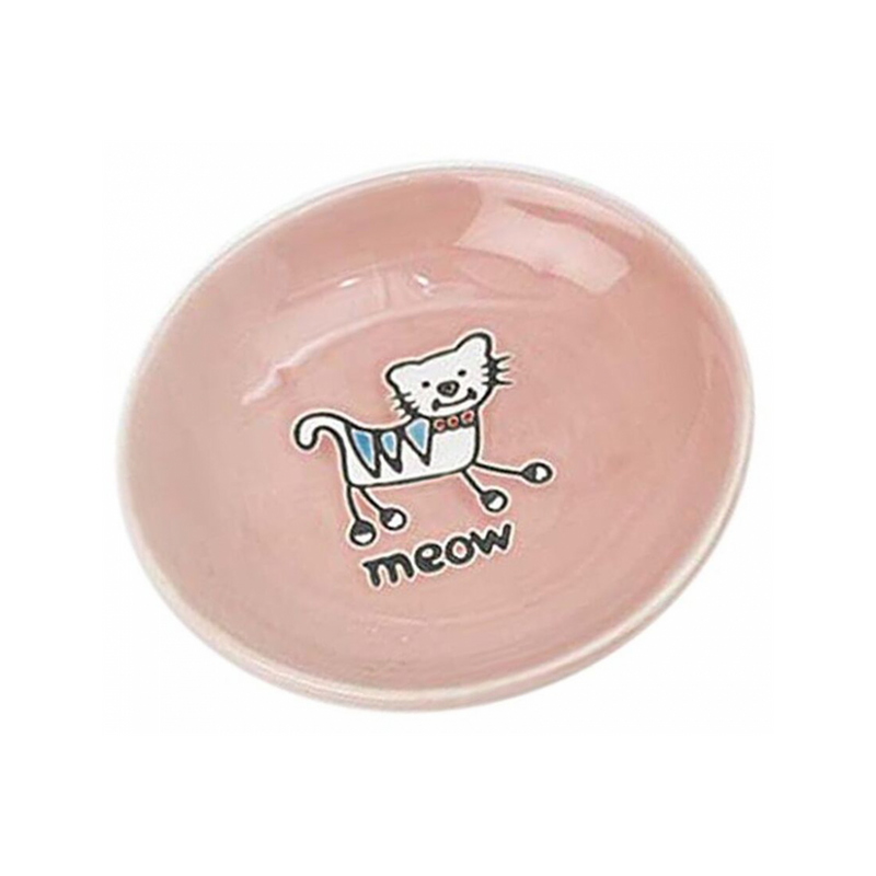 Silly Kitty Saucer Cat Bowl, Color Pink, 5""