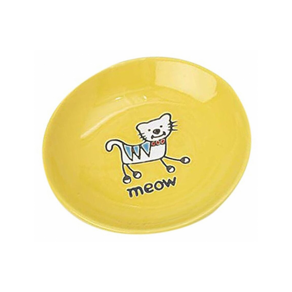 Silly Kitty Saucer Cat Bowl, Color Yellow, 5""